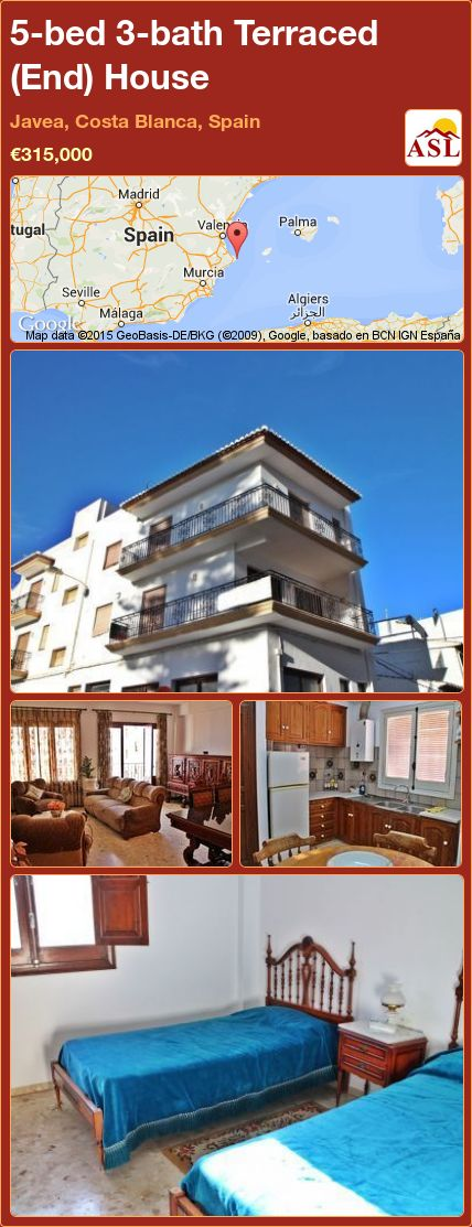 5-bed 3-bath Terraced (End) House in Javea, Costa Blanca, Spain ►€315,000 #PropertyForSaleInSpain