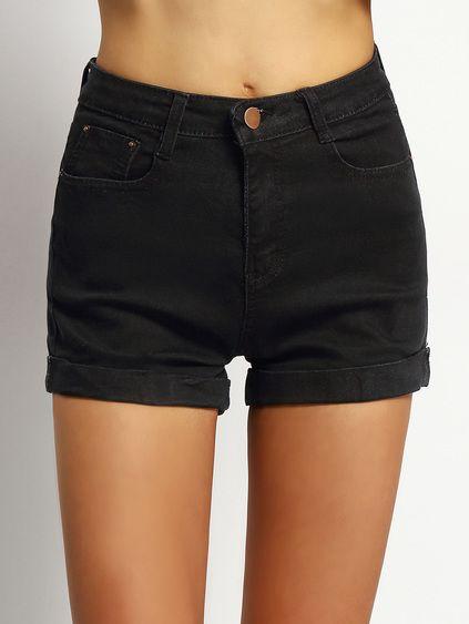 Cuffed Denim Black Shorts Mobile Site