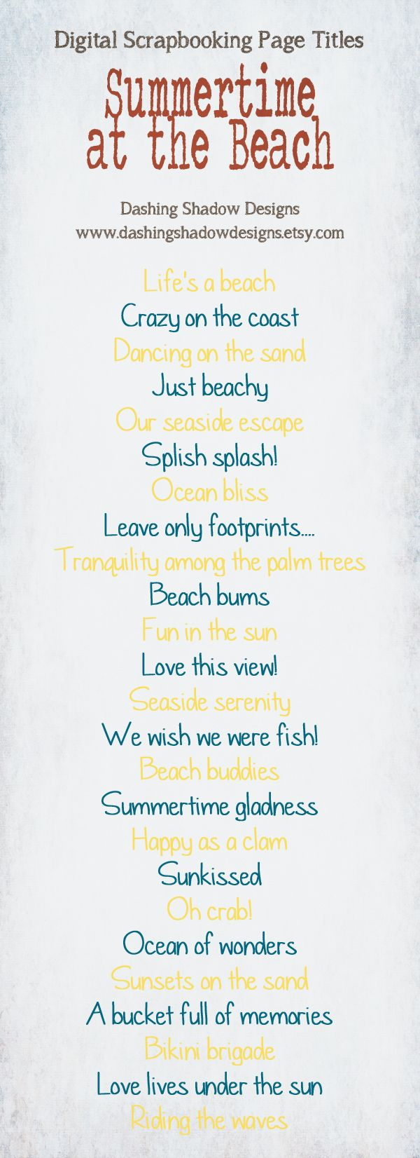Scrapbook Page Title Ideas - Summertime at the Beach #digital #scrapbook #scrapbooking #title #titles #ideas #digiscrap #summer #beach #ocean #sea