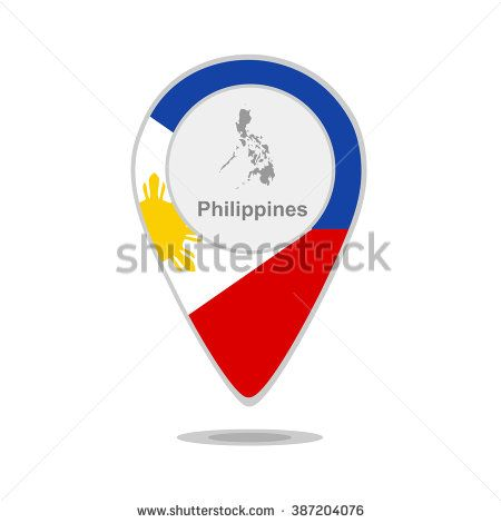 A pointer with map and flag of Philippines