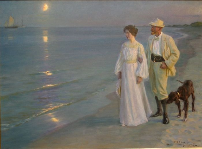 Peder Severin Krøyer 1851-1909 | Summer Evening on the Beach at Skagen | Plein-air painting
