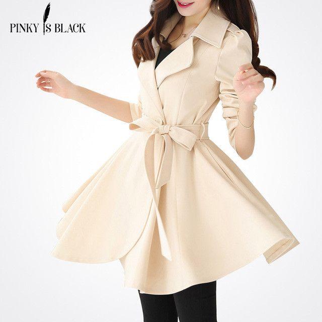Women Trench Khaki Long Overcoat Women Coat Casual Slim long Coats Outwear