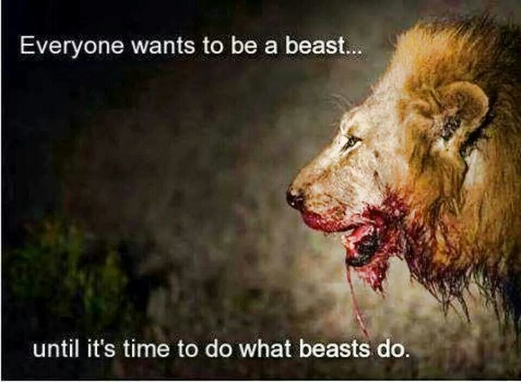 Everyone wants to be a beast.. Until it's time to do what beasts do. If you want to be something, you have to practice it so it becomes second nature, you can't expect to get in the position and suddenly have the magical powers to perform.