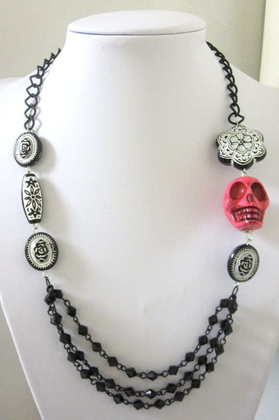Day Of The Dead Necklace Sugar Skull Jewelry by sweetie2sweetie