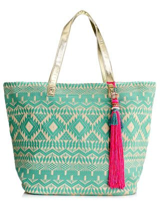 colorful beach tote bag