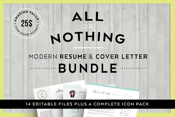 Bundle-Resume & letter Templates by Profilia Resume Boutique on @creativemarket