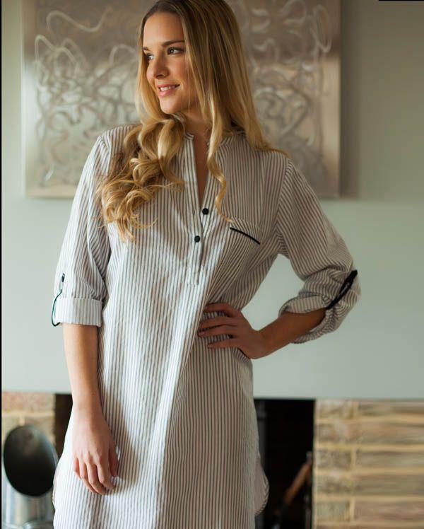 Freya Long Sleeve Stripe Nightshirt