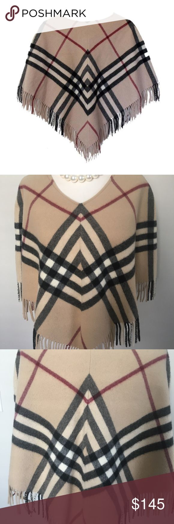 """Burberry Nova Check-Camel Red Black Poncho Authentic Burberry timeless Nova Check Fringed Poncho in their signature Camel Red & Black Check.   100% Lambswool, Made in England. Dry clean only  Looks amazing with white shirt, jeans and heels.   Any season! Purchased in Bloomingdales NYC  One size. 17"""" length but wears short, hits at the waist. Burberry Jackets & Coats Capes"""