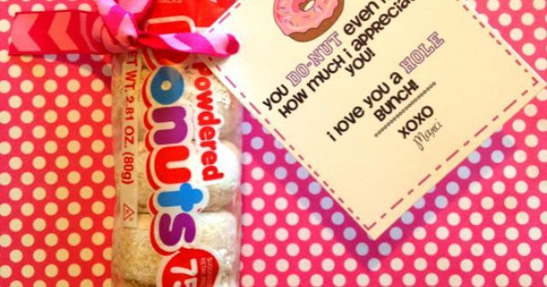 Girls Camp Printable Pillow Treats for Secret Sisters and it includes mini powdered donuts the best donuts around yum!!!!!