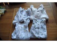 4 Mothercare Strampler Schlafanzüge Pyjama Kratzschutz Zwillinge