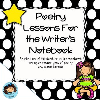 Here is everything you need to teach a unit on poetry during your writer's workshop time.  Each page has a two notes specially sized to fit a typical notebook page.  Less copying and wasted paper!  Use these notes to introduce a variety of poetic tools/devices and use them as a springboard for their own writing.Included in the 14 page document are:HaikuTankaLimericksCinquian3 Word Model Poems4 Line Reaction Model PoemsOnomatopoeiaMetaphorSimileCheck out Biography Bottle Buddy project!Check…