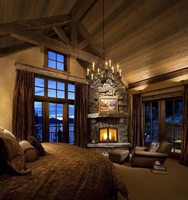 217 best images about rustic dream home on pinterest for Master bedroom corner fireplace