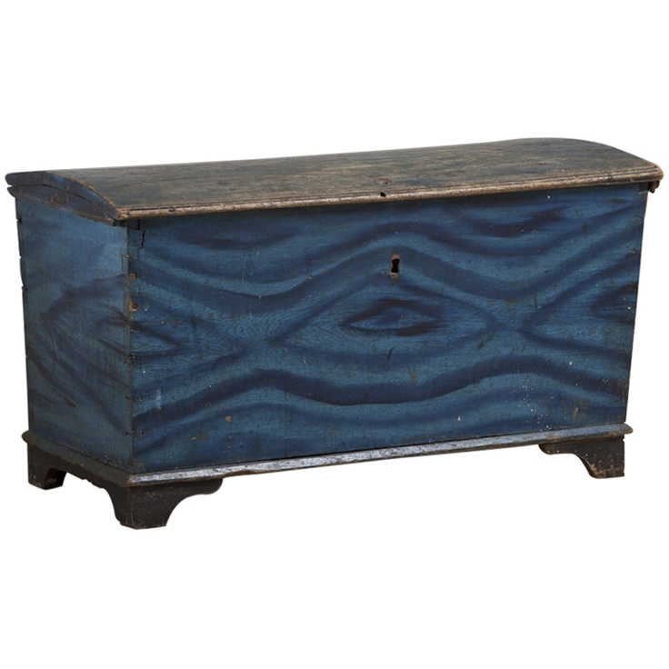Wavy!  A Swedish Painted Trunk in Original Paint circa 1760