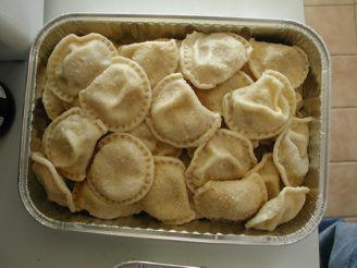 i wanted to pin this recipe because it is the best and easiest recipe for pierogi. the dough always comes out perfectly...even though it might seem a little clumpy before you rest and then knead it. fill them with whatever your heart desires!