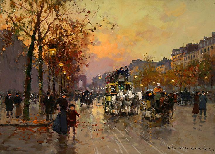 Edouard Leon Cortes  (1882 - 1969)  Champs-Elysees