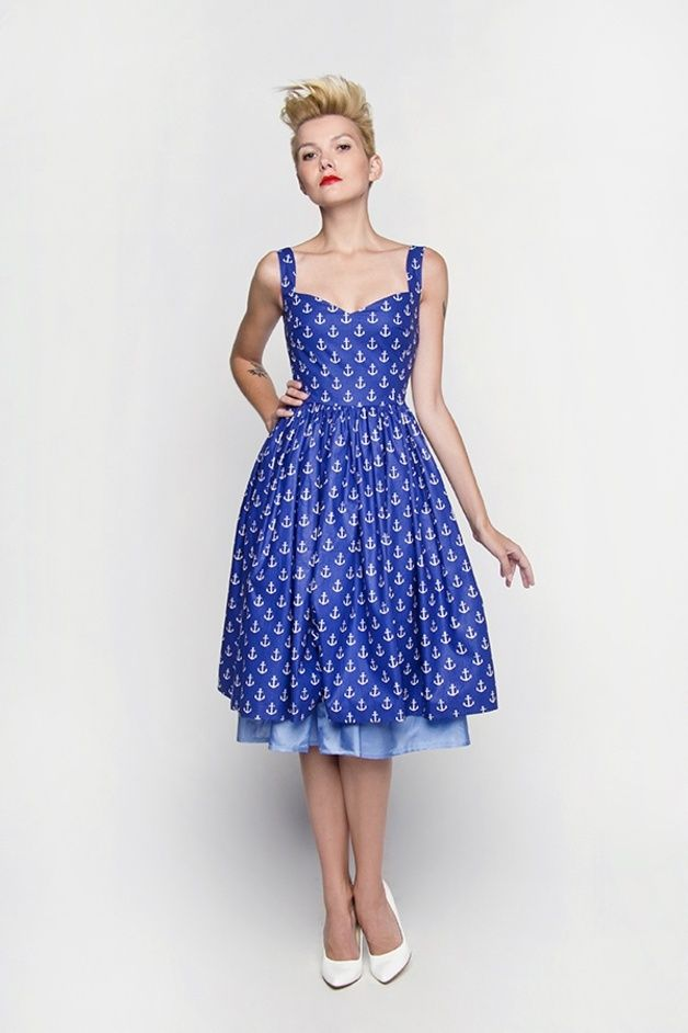 Sukienka midi w stylu lat '50 z bawełny granatowe kotwice.