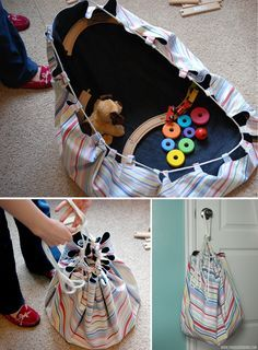 tutorial to make a floor sack to hold toys when they are done playing....might be helpful when I get grandkids...