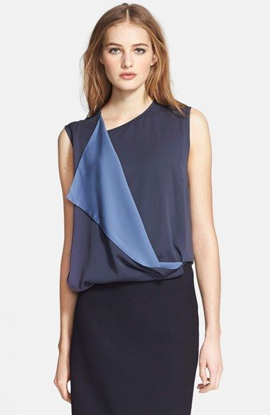"""Max Mara 'Tommy' Drape Front Silk Top at Nordstrom.com. <p><B STYLE=""""COLOR:#990000"""">Pre-order this style from the Resort 2015 collection! Limited quantities. Ships as soon as available. You'll be charged only when your item ships.</b></P><br>A beautifully draped overlapping front panel reveals a lighter hue in this inky-blue silk blouse from Italian atelier, Max Mara."""