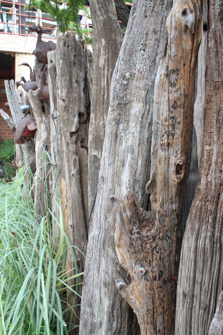 Tree trunk fence at Katy's in Marlboro February 2014