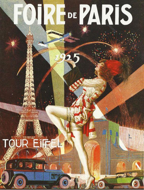 antique french advertising print paris eiffel tower art deco foire de paris 20s via etsy. Black Bedroom Furniture Sets. Home Design Ideas
