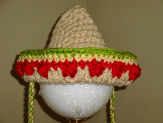 Crocheted Mexican Sombrero hat for baby in by JansCrochetBoutique
