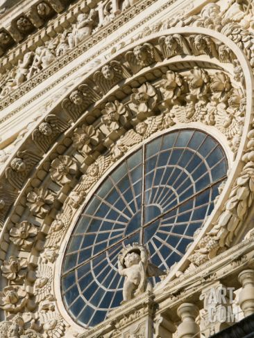 Baroque Window and Cherub of the Santa Croce Church, Lecce, Puglia, Italy Photographic Print by Walter Bibikow at Art.com