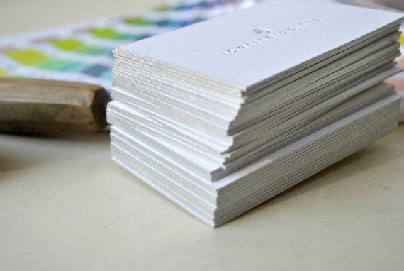 200 Custom letterpress business cards silver by FunkyPrintStudio