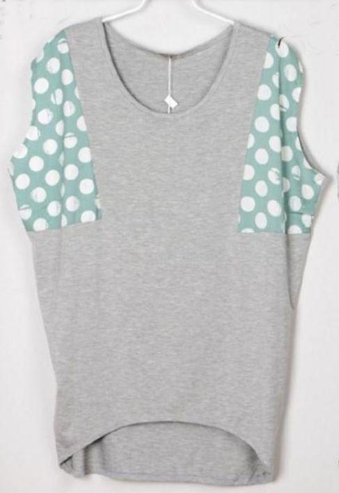 Polka Dot Printed Green and Grey Batwing T-Shirt
