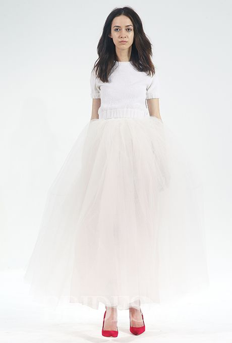 Brides.com: . Wool terry cropped sweatshirt and and a skirt in layers of tulle and pink silk organza, Houghton