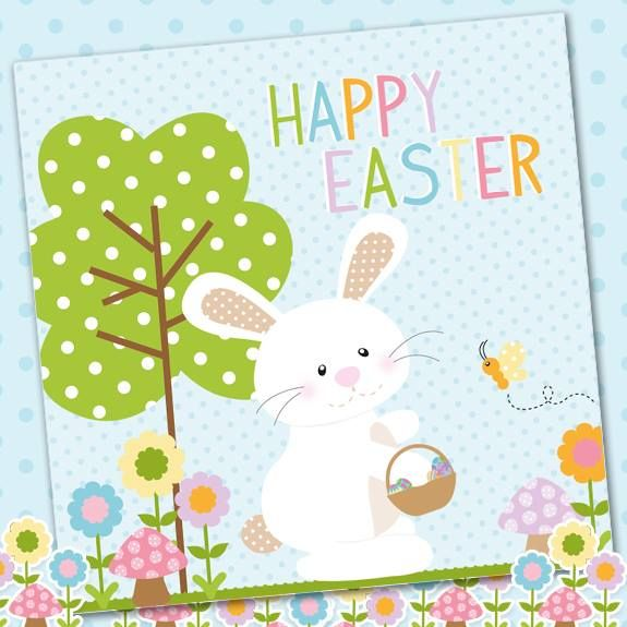 Pack of 5 Easter Bunny cards and pastel blue envelopes from Phoenix Trading.  £3.