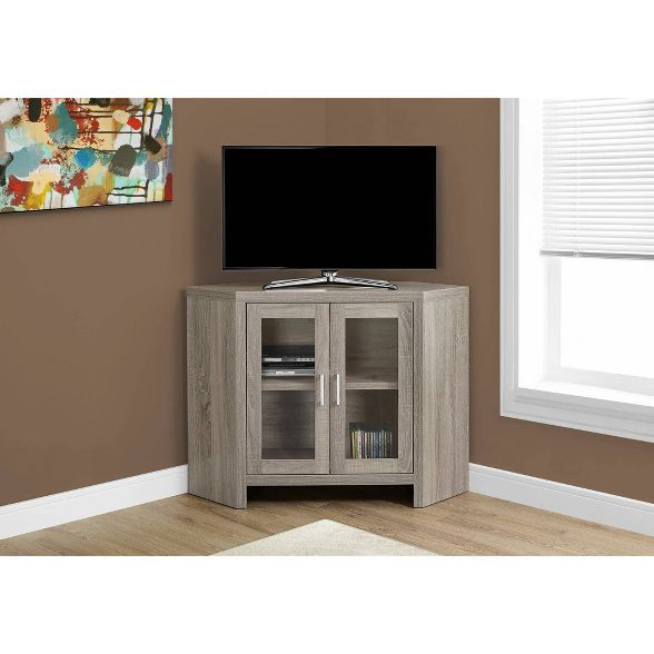Corner Tv Stand With Glass Doors Everyroom In 2020 Corner Tv Stand Tv Stand With Glass Doors Corner Tv