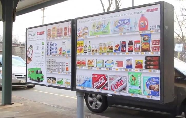 In some cities, you can shop from a virtual grocery store via QR code.
