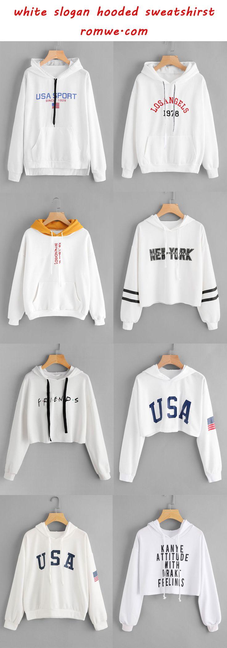 white slogan hooded sweatshirts - romwe.com