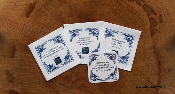 A nice cocktail napkin with a delft blue design and inspiring lyrics. With an accompanying drink coaster. Een mooi cocktail servet met een delfts blauw design en een inspirerende teksten. Met een bijbehorende drank viltje. #napkin