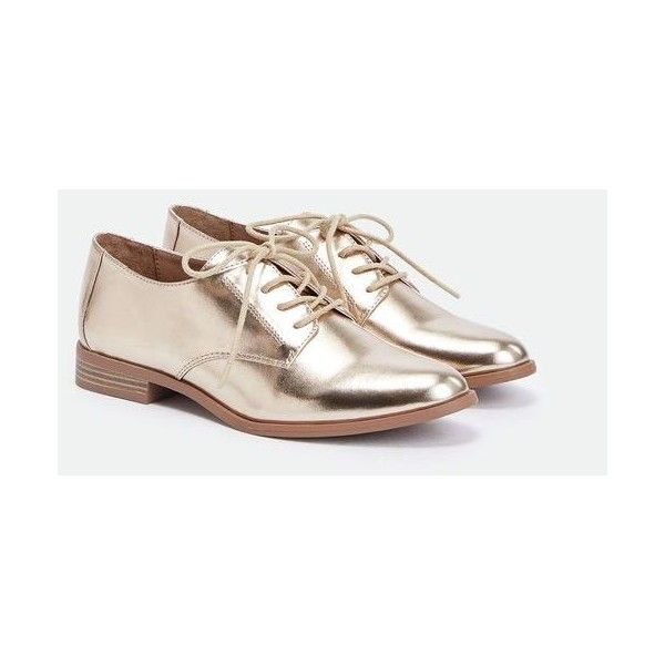 Justfab Flats (Not Ballet, Not Sandal) Billy Jean ($40) ❤ liked on Polyvore featuring shoes, metallic, metallic ballet flats, ballerina flat shoes, oxford shoes, metallic shoes and ballet shoes