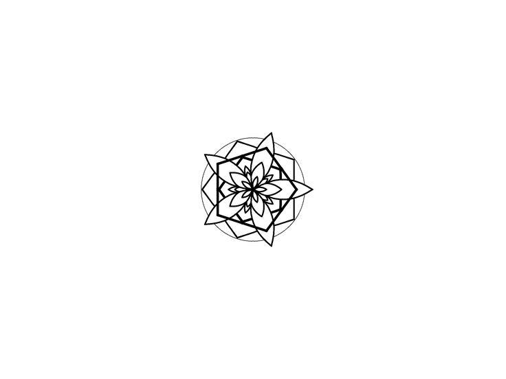 Geometric mandala Flower blackwork design.