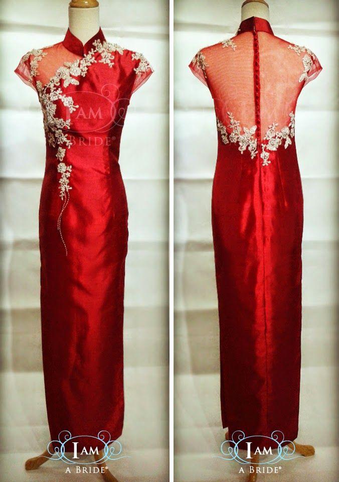 Modern Cheongsam Custom Make with One Off Shoulder See-thru Netting for Destination UK Bride