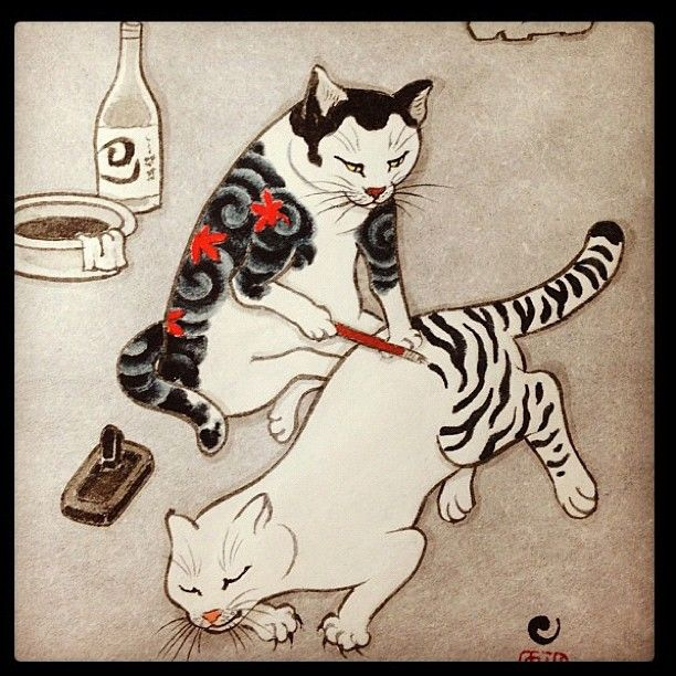 猫の彫師。かわいい♪ via: http://tattoosforpassionnotfashion.tumblr.com/post/28723740586/done-by-horitomo…