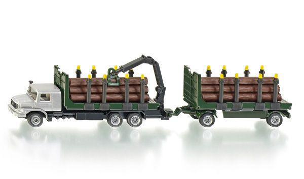 Vrachtwagen voor houttransport 1:87  Als houttransporter voor zwaar werk in het bos in de kinderkamer is de nieuwe Mercedes Zetros in zijn element. De door de oogstmachine gevelde en op maat gezaagde boomstammen worden met deze vrachtwagentrekker met aanhanger uit het bos naar de zagerij getransporteerd. De trekker met opbouw met rongen is uitgerust met een draaibare kraan met grijper.