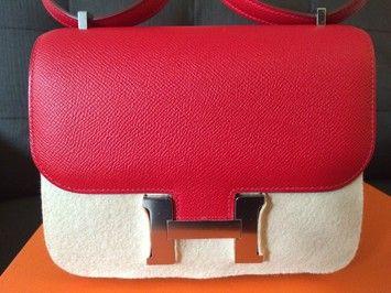 Herm��s Mini Constance 18cm Red Q5 Rouge Casaque Messenger Bag ...