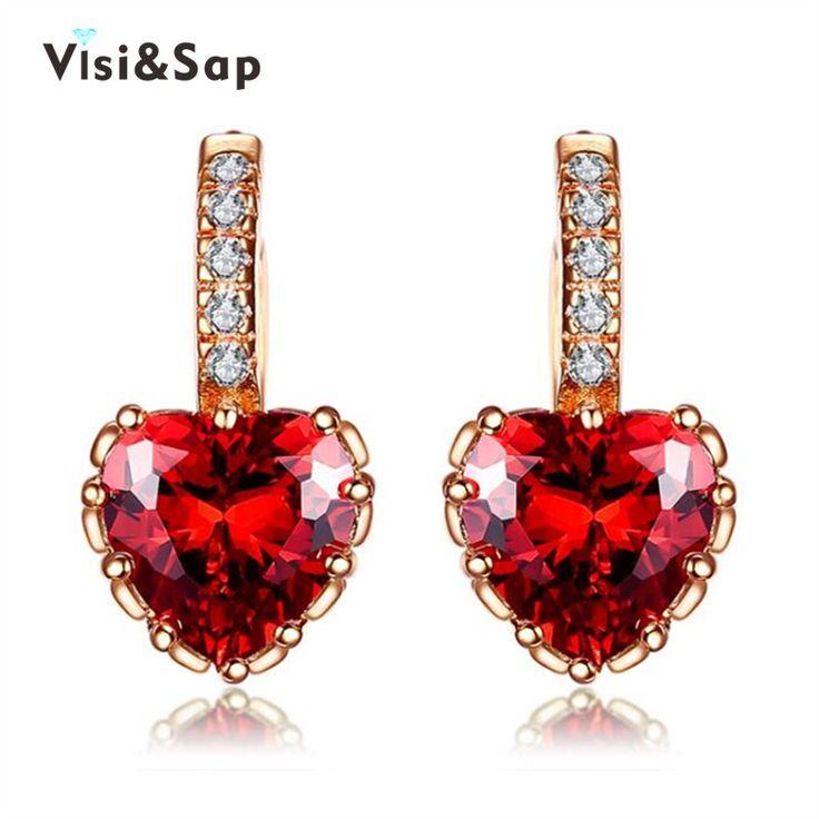 Rose Plateó el Pendiente del Corazón rojo de Cristal de la boda bijoux Pendientes de Aro Para Las Mujeres al por mayor de joyería de Moda de La Vendimia VSE014
