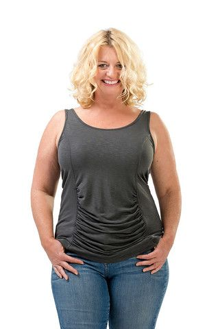 The Carly Tummy Tank in Charcoal. Great under cardigans and other cover-ups this fall. Sizes 12 to 18. Made in USA. On Sale Now at www.charlieagogo.com
