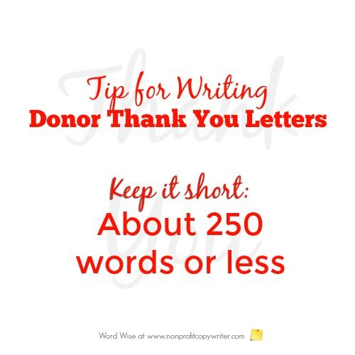tip for writing donor thank you letters with word wise at nonprofit copywriter
