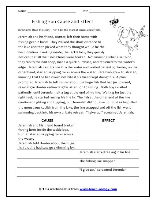 Fishing Fun Cause And Effect Second Grade Pinterest