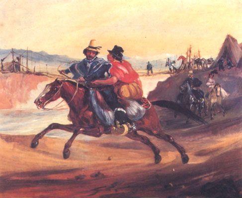 """Cena Campesina"". (by Johann Moritz Rugendas (1802-1858)"
