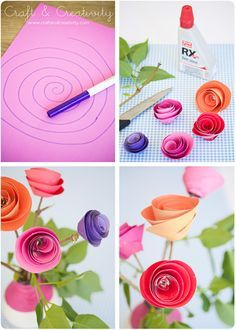 Easy, pretty paper roses.  The seniors will enjoy making these because they are so forgiving of not-so-straight assembly.  Många tack, Helena!  (She has a lovely Swedish blog.)
