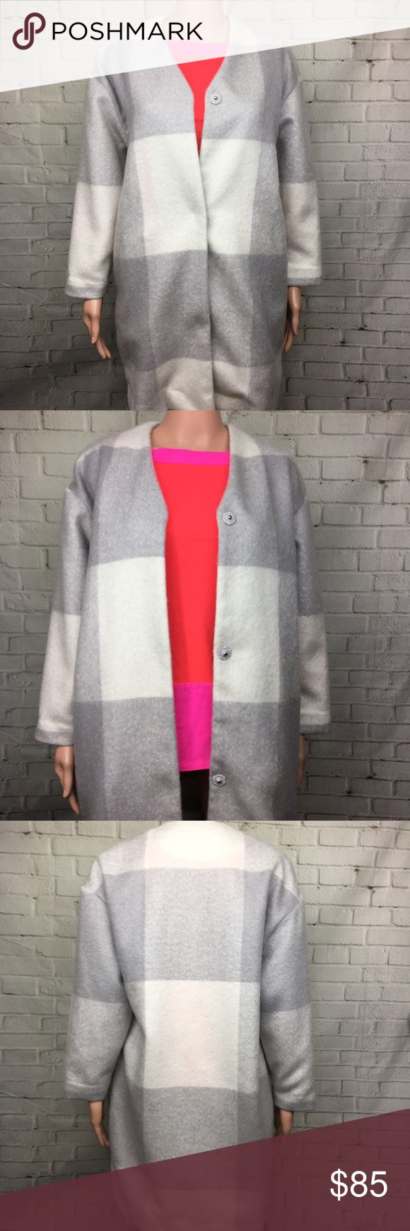 ADAP LIPPES Long Jacket Cardigan Stunning structured design! Love the timeless grey and white Geometric print. Only selling because it's a bit big on me. Small but fits more like a 6-8. Adam lippes for target adam lippes Jackets & Coats