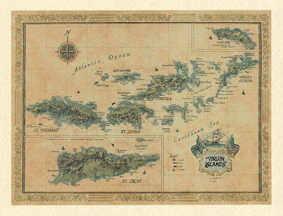 virgin islands modern day antique wall map
