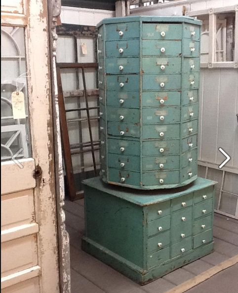 American Bolt and Screw Case vintage store display swivel cabinet--for my craft room! so cool!