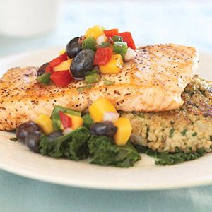 A Taste of Summer ~ Easy, Healthy Gourmet Recipes ~ Salmon w/Blueberry-Mango Salsa =)